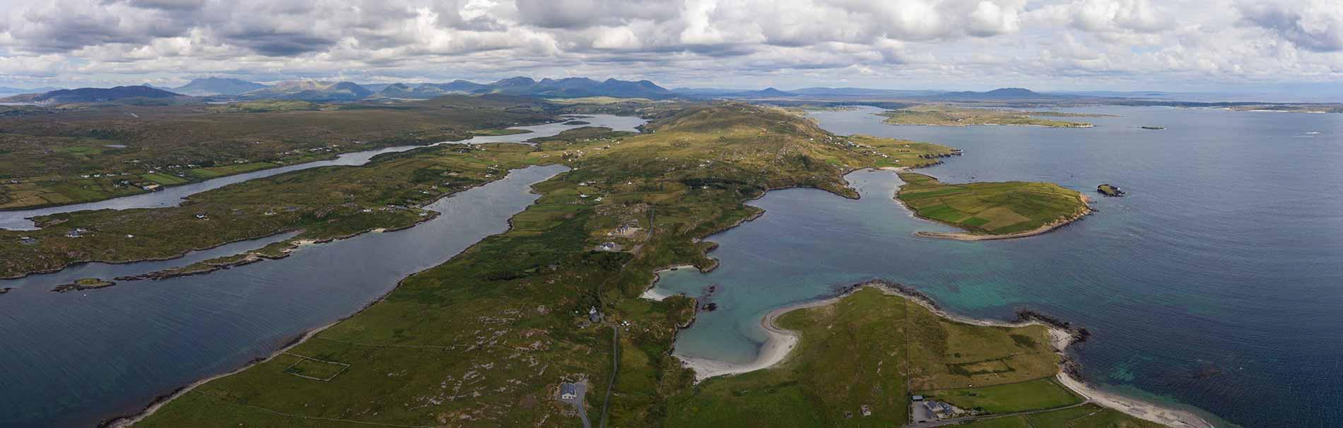 Aerial shot of the west coast of Ireland